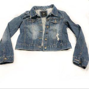 Distressed Cropped Denim Jacket 100% Cotton Trend